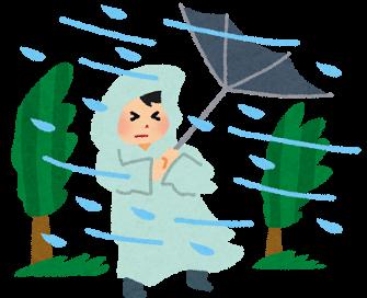 台風「 ((((っ・ω・)っ ブーン 」    派遣社員「早く帰ると時給が減る  \(>ω<)/ 」